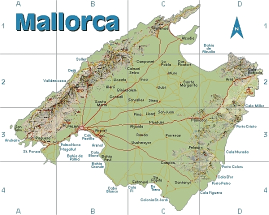 Mallorca Karte Zum Ausdrucken   Kleve Landkarte